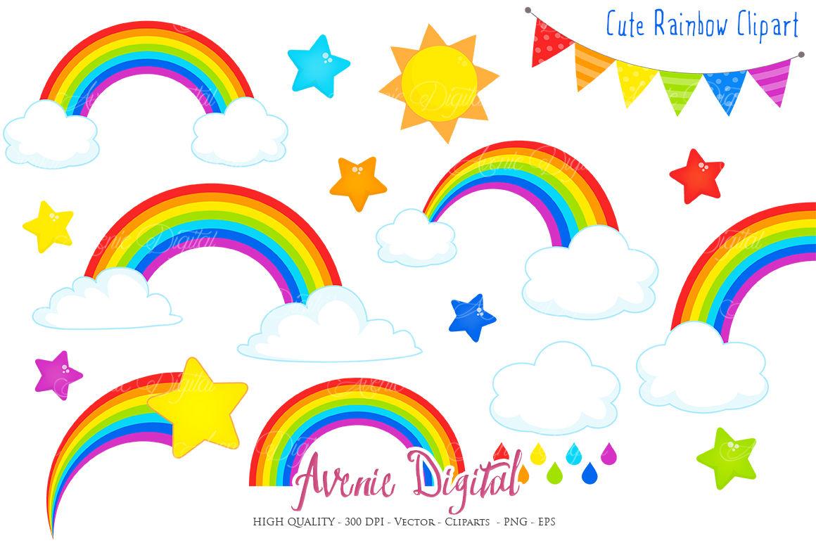 Cute Rainbow Clipart Vector By Aveniedigital Thehungryjpeg Com