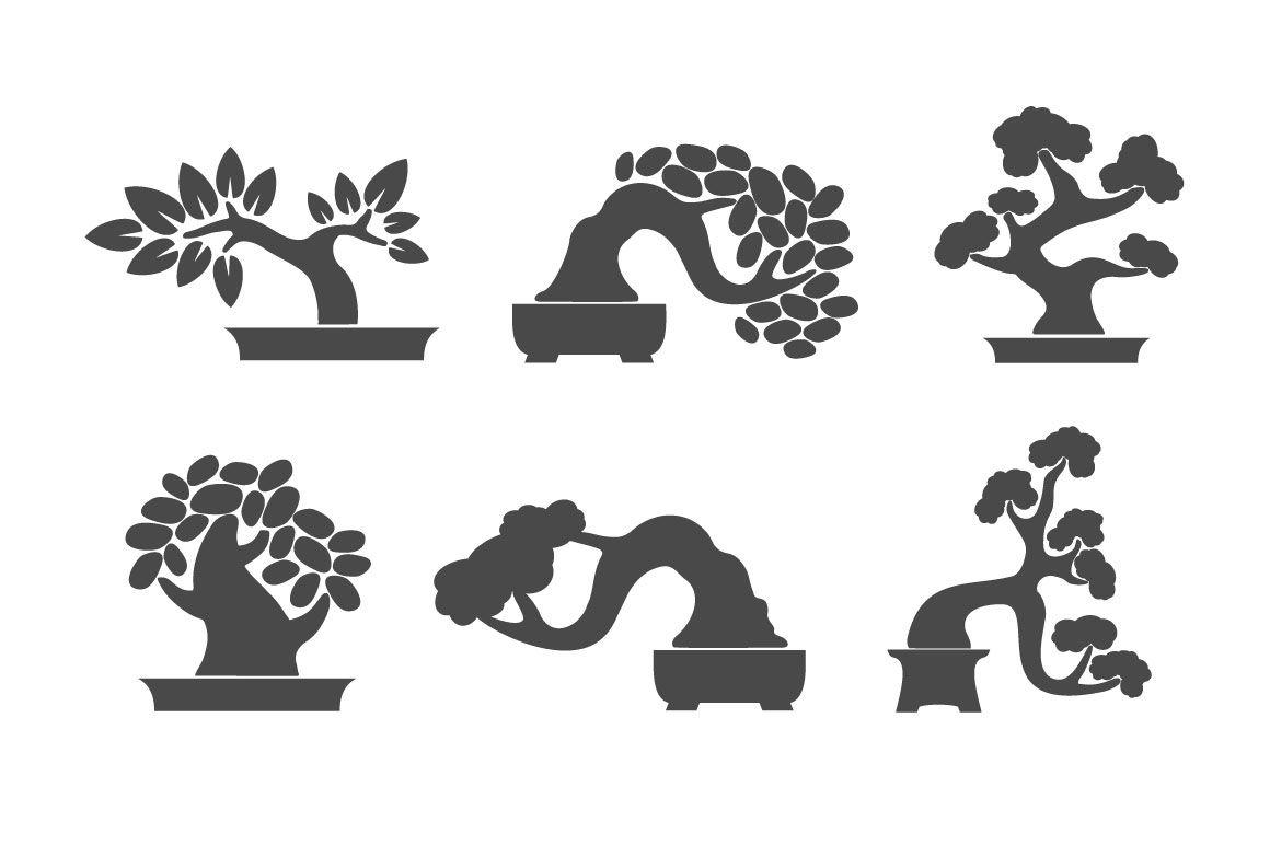 Bonsai Illustration Icon Set By Valentina Gurina Art Thehungryjpeg Com