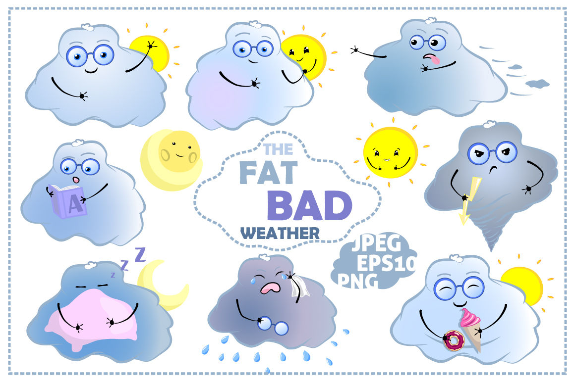 Cute Weather Emoji Vector Clipart By Rabbit And Pencil