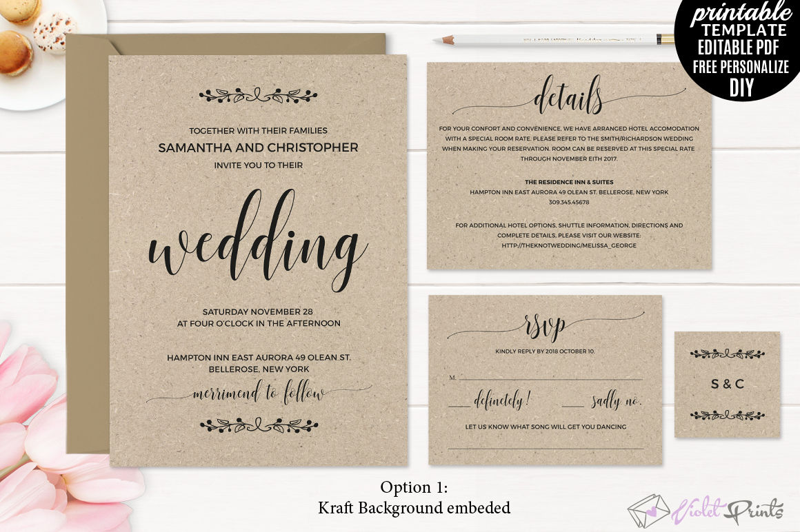 Kraft Paper Rustic Wedding Invitation Set Template By VioletPrints