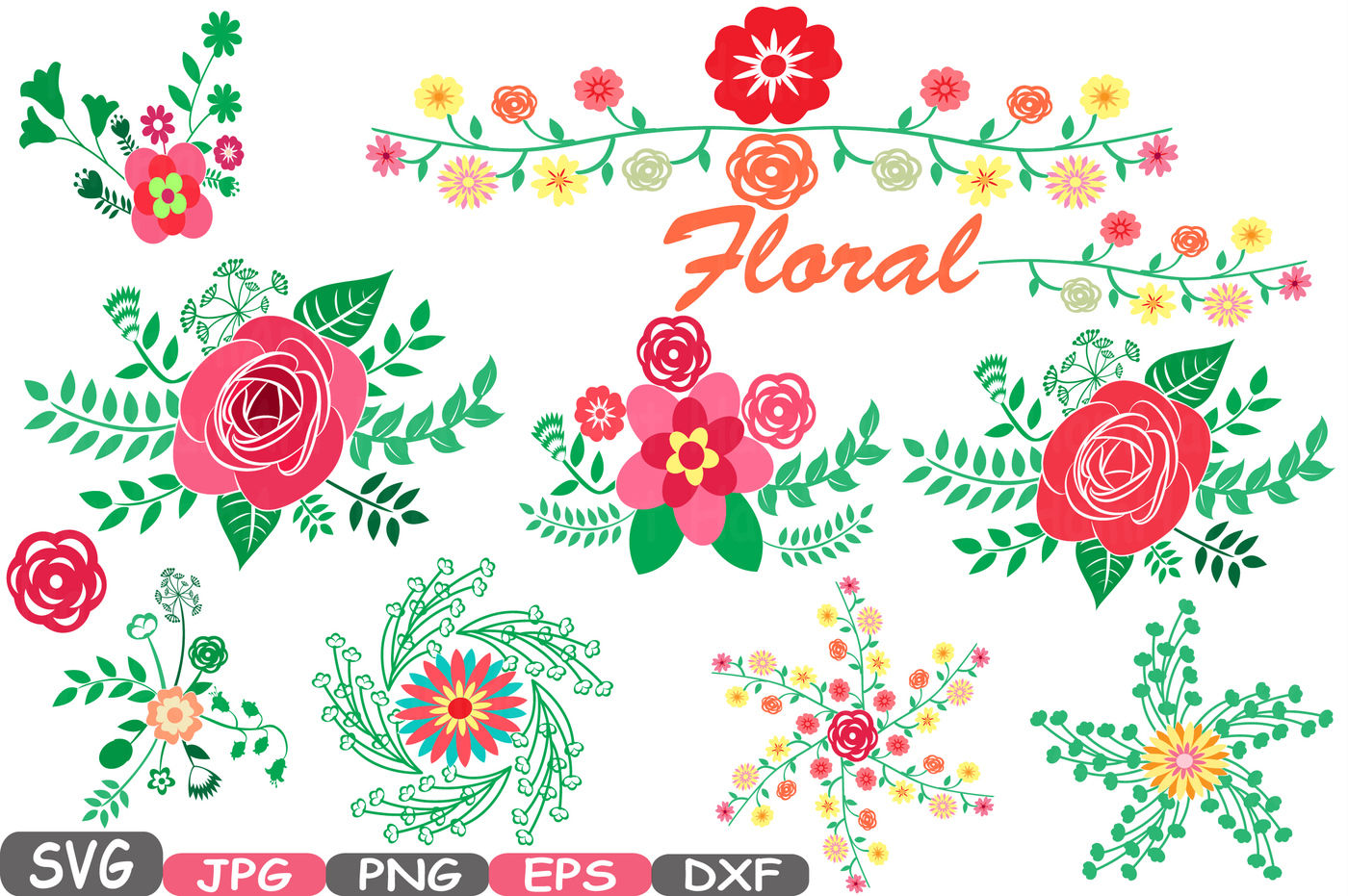 Wedding Flowers Vintage Floral Invitation Cutting Files Svg Eps Png Dxf Jpg Party Colorful Clip Art Vector Graphics Clipart 21sv By Hamhamart Thehungryjpeg Com