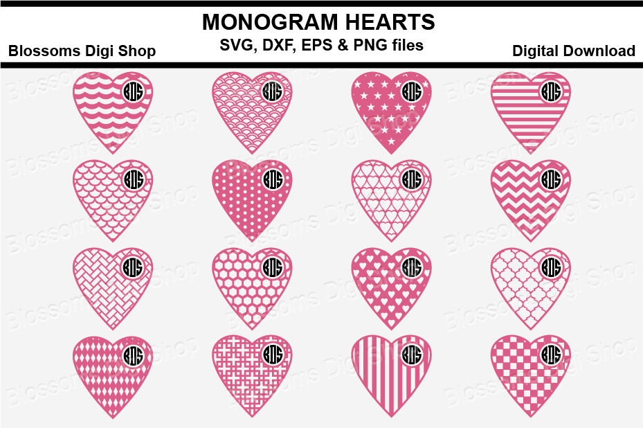 Monogram Pattern Hearts Bundle Svg Dxf Eps And Png Files By