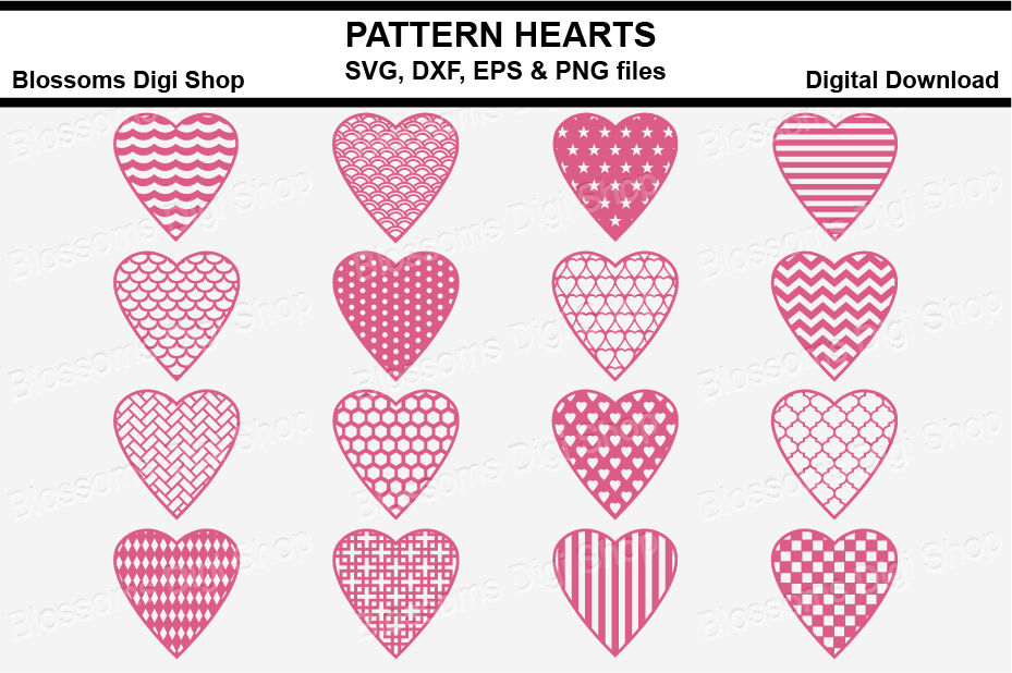 Pattern Hearts Bundle Svg Dxf Eps And Png Files By Blossoms Digi