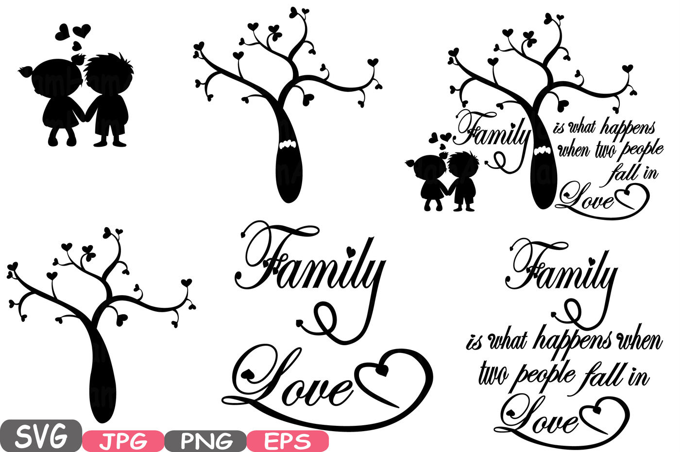 Family Svg Word Art Family Tree Quote Clip Art Silhouette Family