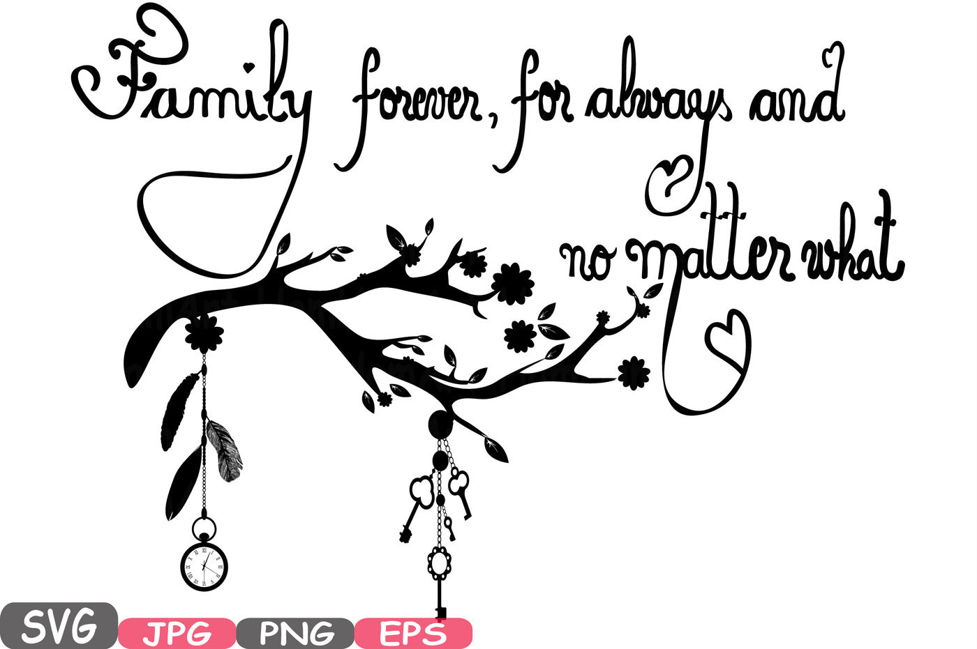 Family Forever Svg Word Art Family Quote Clip Art Silhouette