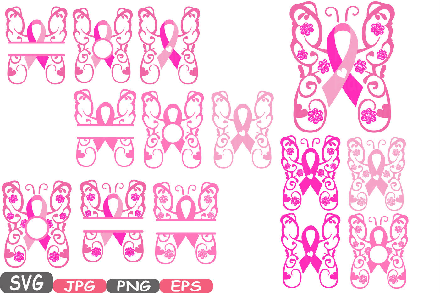 Breast Cancer Butterfly Svg Cricut Silhouette Swirl Props Cutting