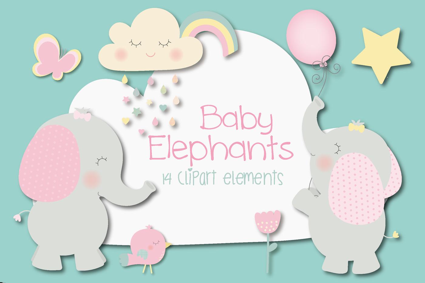 Baby elephant clipart By Poppymoon Design | TheHungryJPEG.com