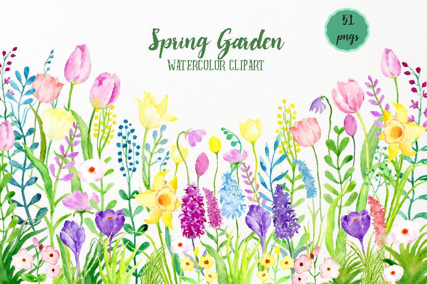 Watercolor Clipart Spring Garden By Cornercroft ...