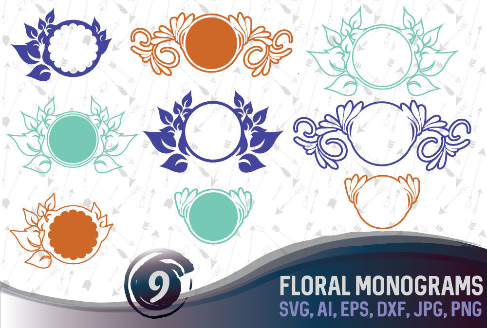 9 Floral Monograms Bundle Svg Ai Eps Png Dxf Jpg By