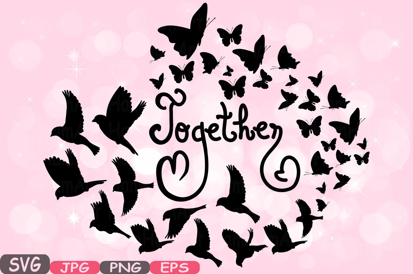 Together Family Birds Butterflies Butterfly Silhouette Digital