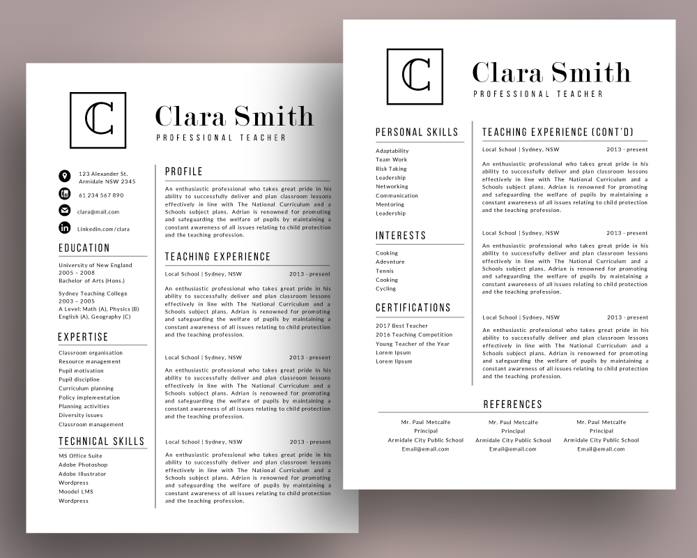 Initial modern teacher resume template pack for MS PowerPoint By ...