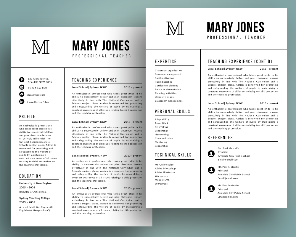 2 in 1 resume template pptx By Inkpower | TheHungryJPEG com