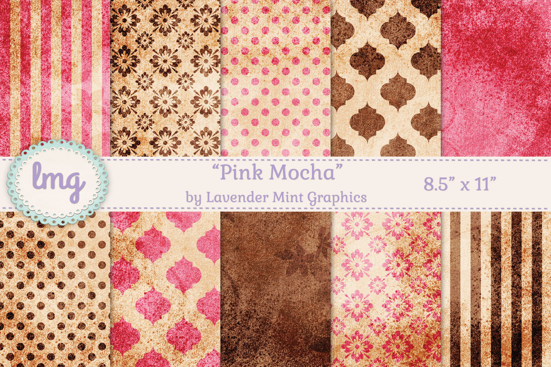 Pink And Brown Digital Journal Papers By Lavender Mint Graphics Thehungryjpeg Com