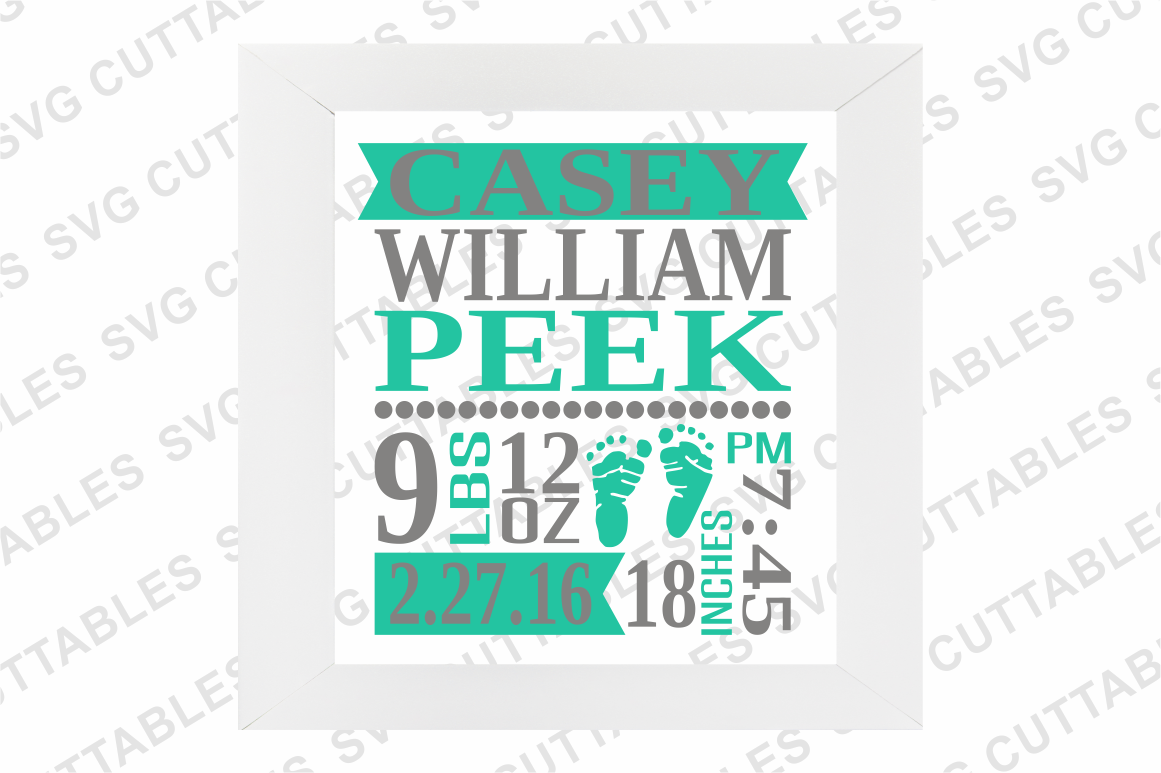 Baby Birth Announcement Template By Svg Cuttables Thehungryjpeg Com