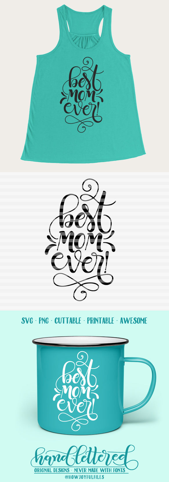 Best Mom Ever Svg Pdf Dxf Hand Drawn Lettered Cut File