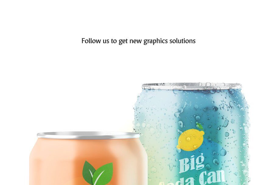 Download Two Metallic 330ml Aluminium Cans Condensation Mockup Yellowimages