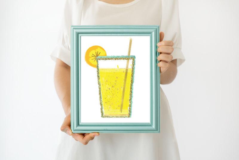 Green Frame Mock Up Backgrounds For Your Artwork Minimalist Mock