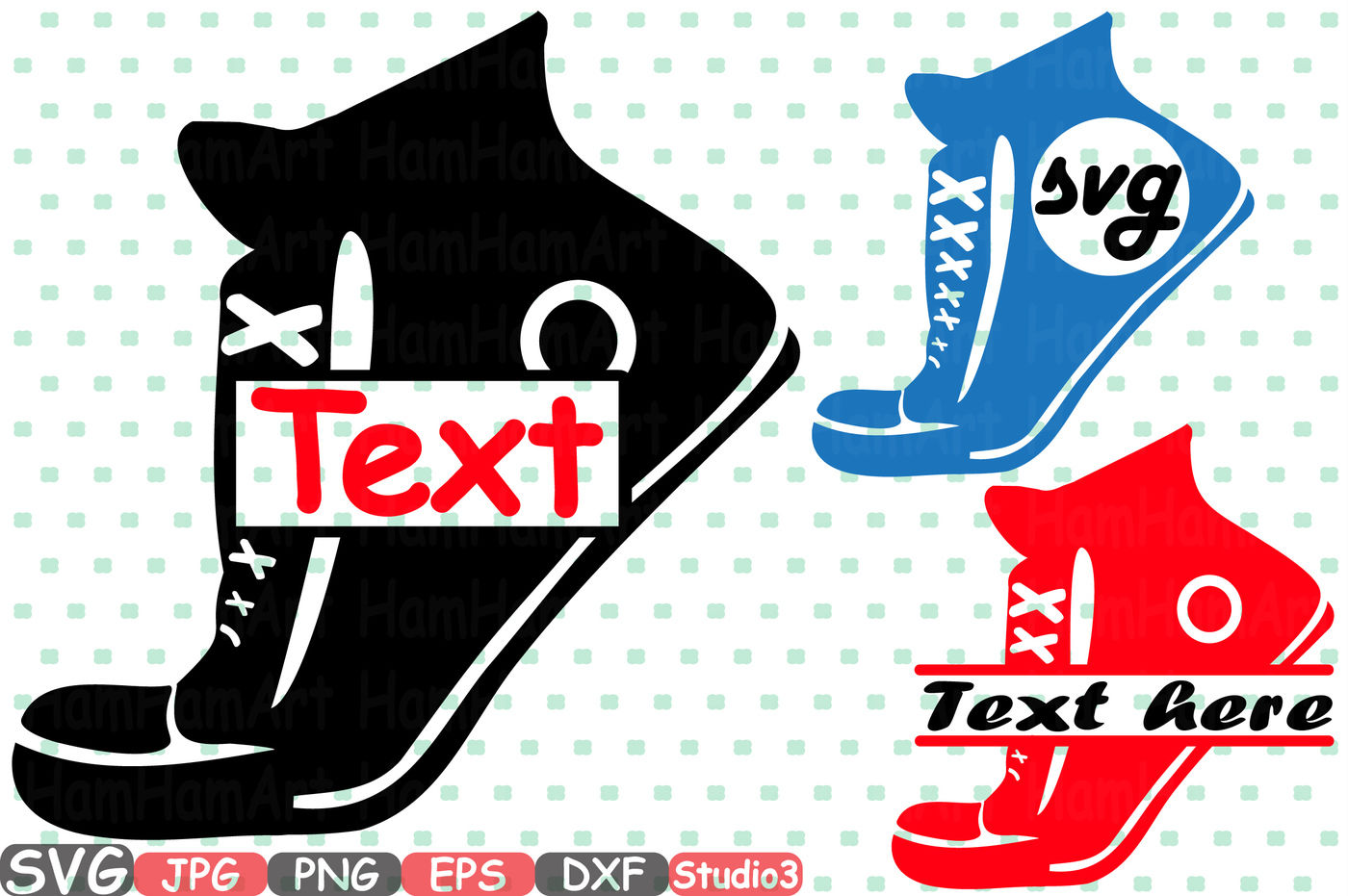 Sneakers Split & Circle SVG Silhouette Cutting Files sign ...