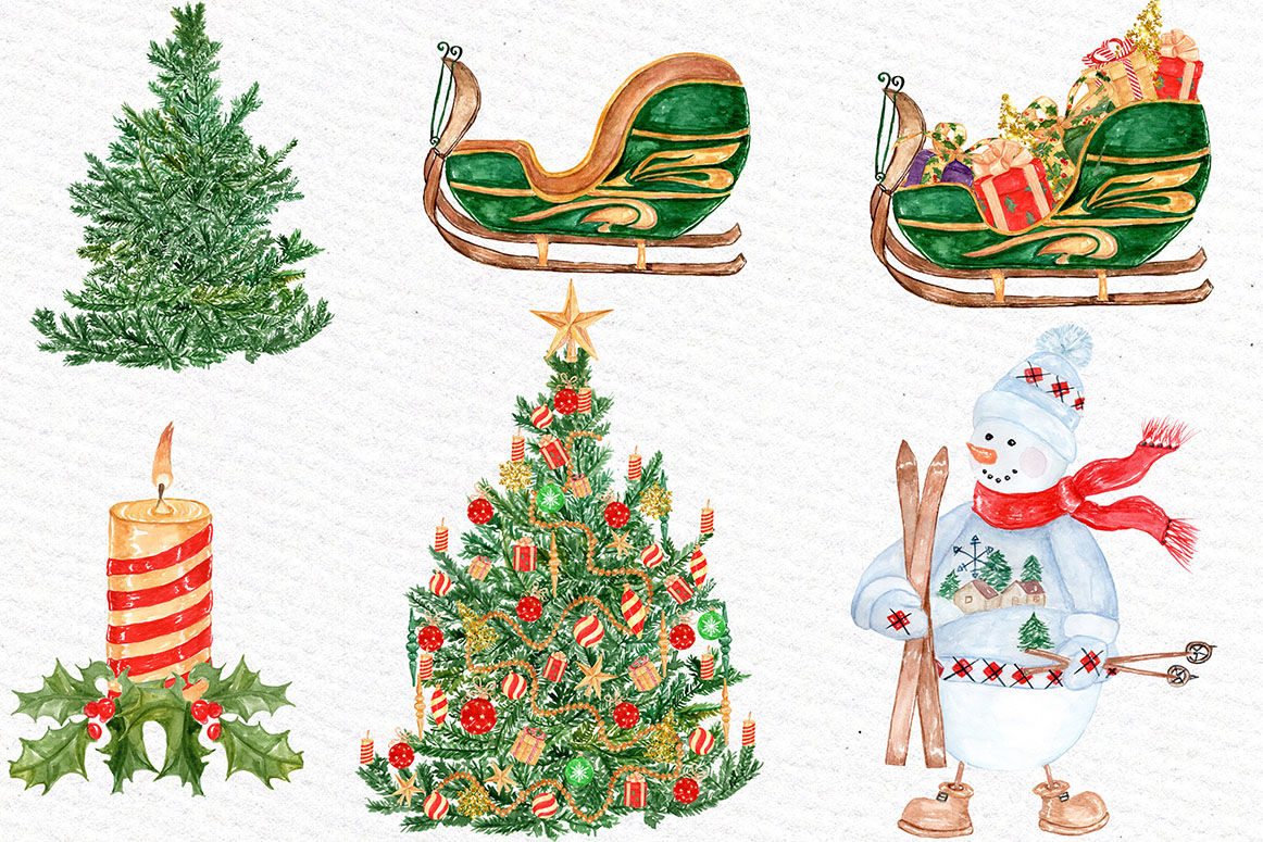 Watercolor Christmas Clipart By Lecoqdesign Thehungryjpeg Com