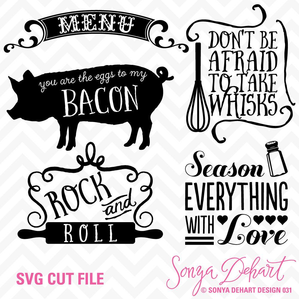 Svg Cuttables Kitchen Cut Files Set Dxf Sdd031 By Sonya Dehart Design Thehungryjpeg Com