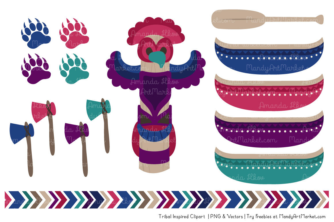 Tribal Clipart Collection In Jewel By Amanda Ilkov Thehungryjpeg Com