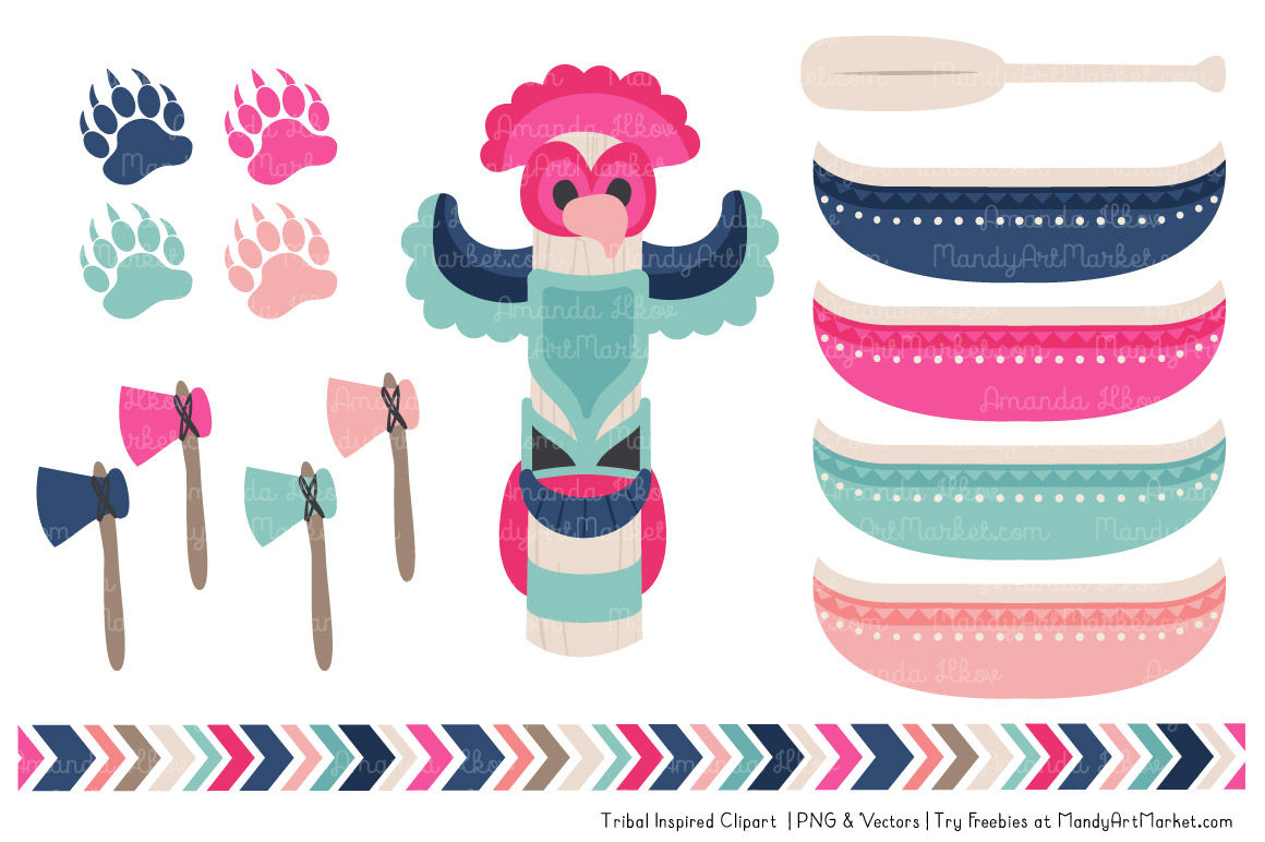 Tribal Clipart Collection In Navy Hot Pink By Amanda Ilkov