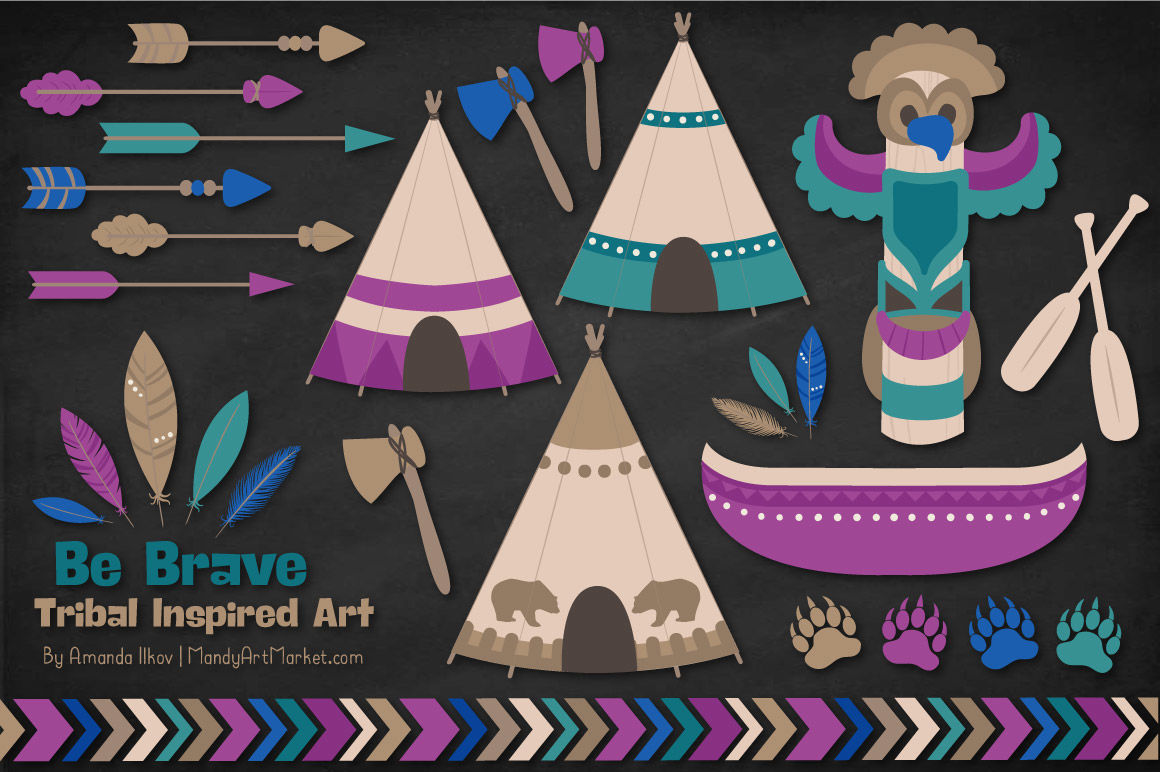 Tribal Clipart Collection In Peacock By Amanda Ilkov