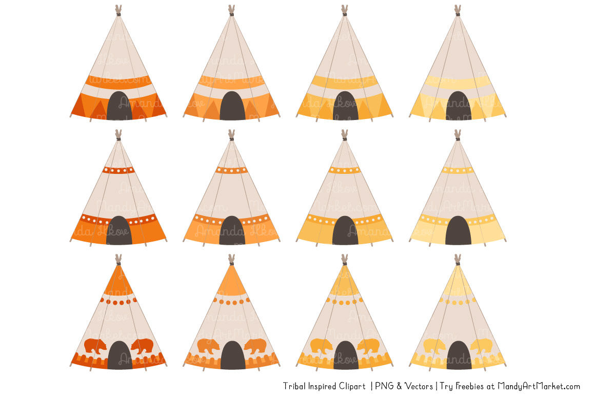 Tribal Clipart Collection In Sunshine Yellow By Amanda Ilkov
