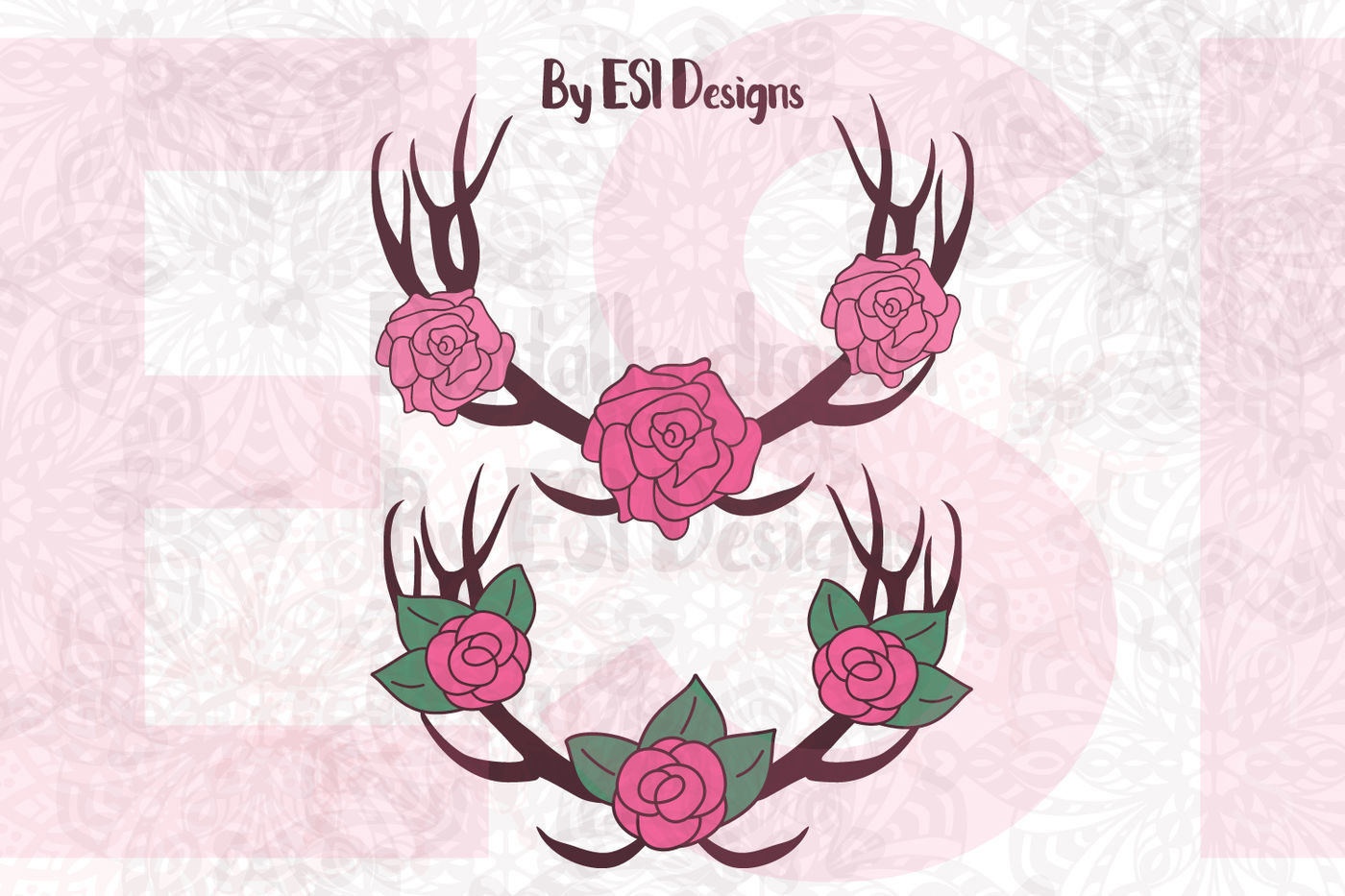 photograph regarding Printable Deer Antlers identify Boho Structure, Deer antlers and Rose - SVG, DXF, EPS PNG