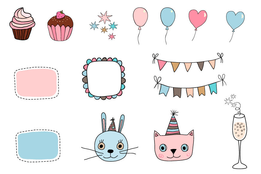 Happy Birthday Clipart Set Cute Cat Bunny Clip Art Bunting Cupcake By Pravokrugulnik Thehungryjpeg Com