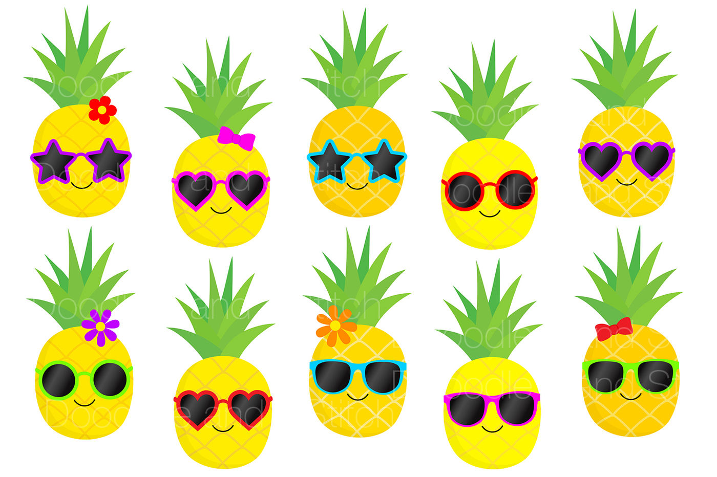 Funky Pineapple Clipart Set By Doodle Art | TheHungryJPEG.com