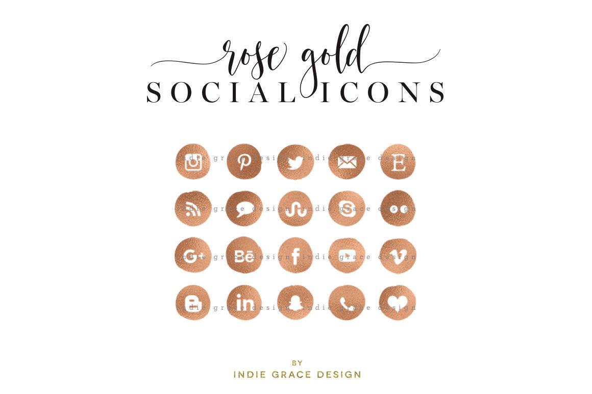 Rose Gold Social Icons - Rose gold foil social media icons - blog