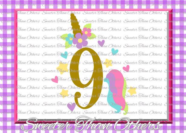 Ninth Birthday Svg 9th Birthday Unicorn Svg Girl Dxf Silhouette