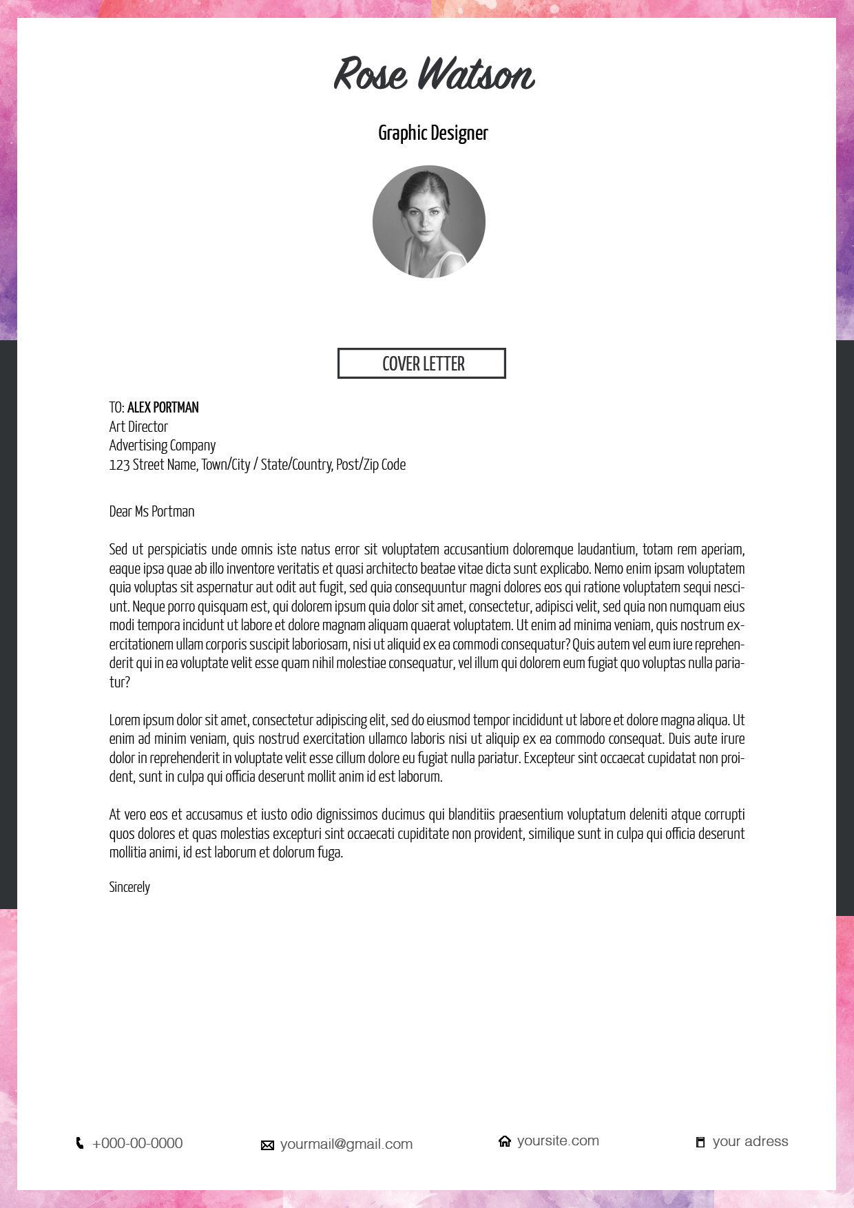 Watercolor Resume CV Template