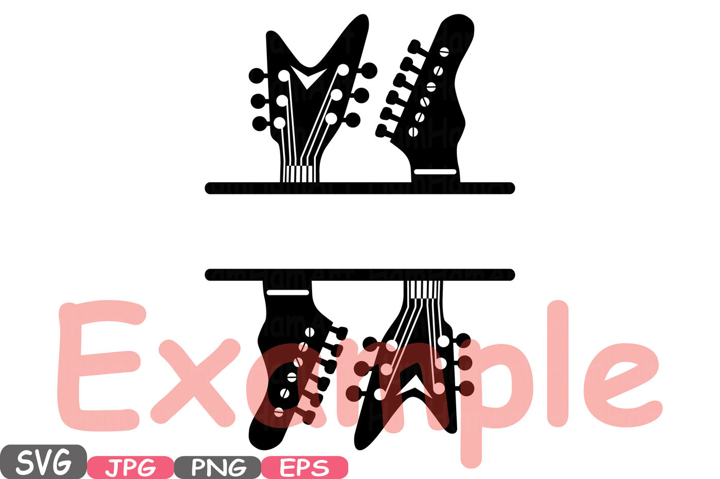 Split Rock N Roll Music Cutting Files Svg Clipart Silhouette