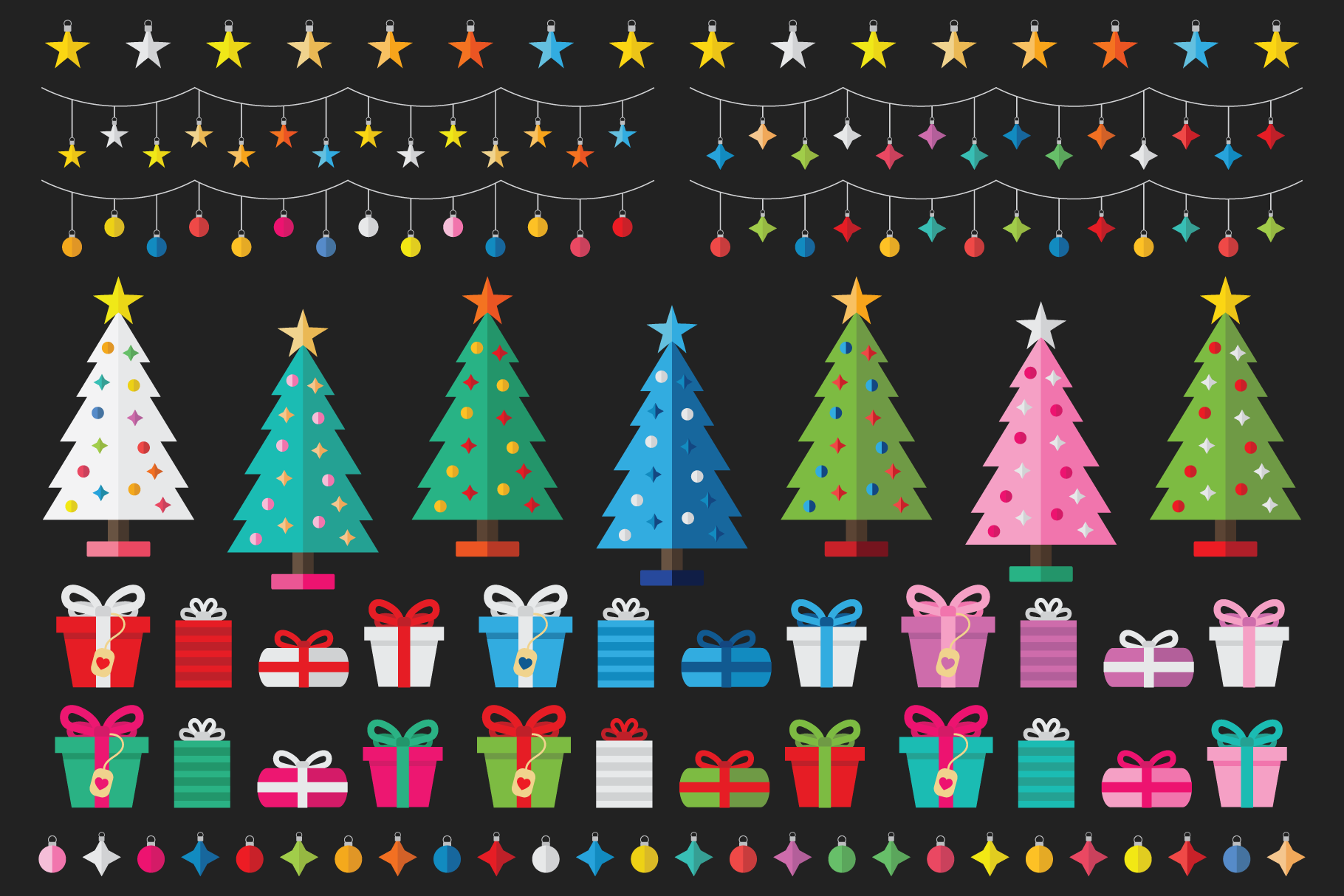 Colorful Christmas Tree Party Clip Art By Running With Foxes