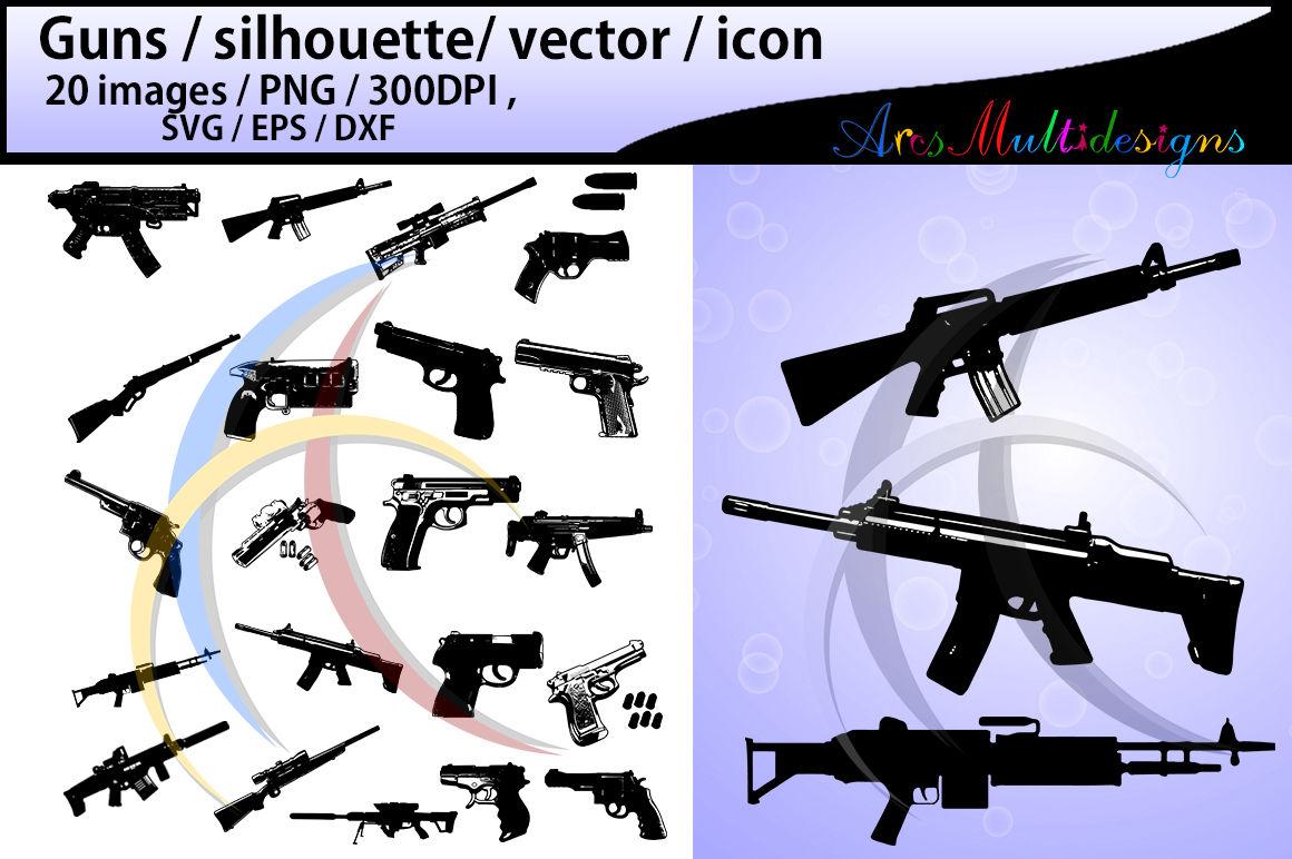 Gun Silhouette Svg Guns Gun Clipart Nerf Guns Vector By
