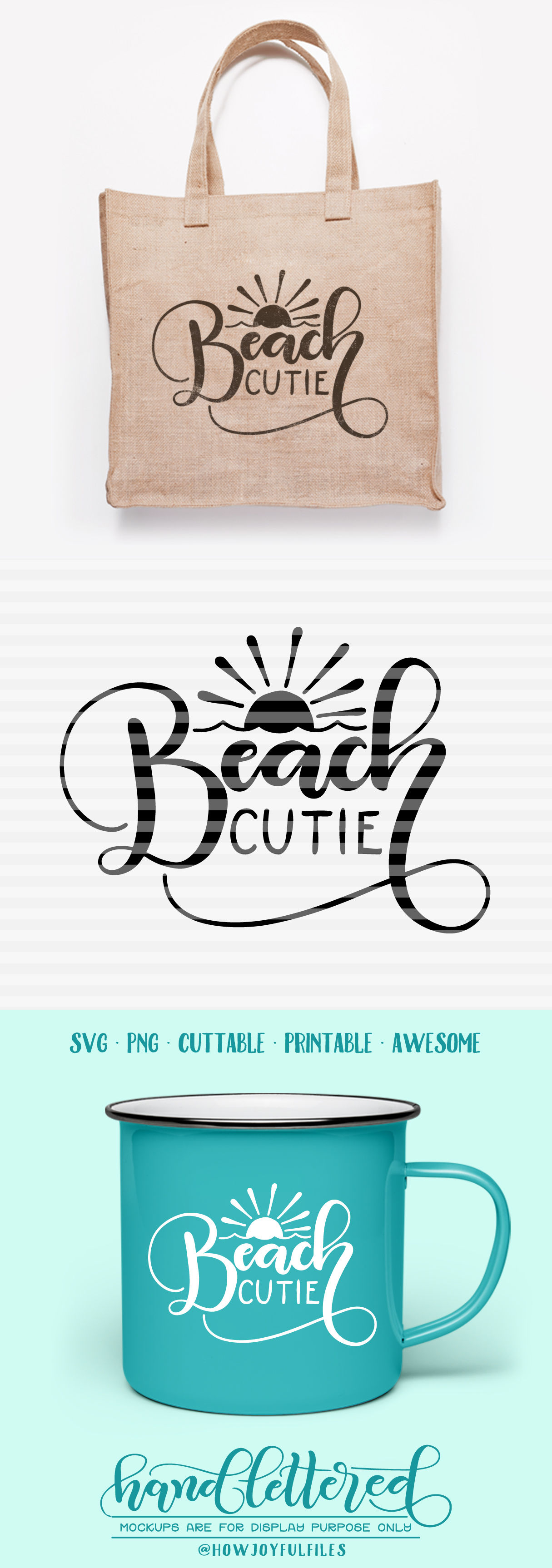 Beach Cutie Svg Pdf Dxf Hand Drawn Lettered Cut File Graphic Overlay By Howjoyful Files Thehungryjpeg Com