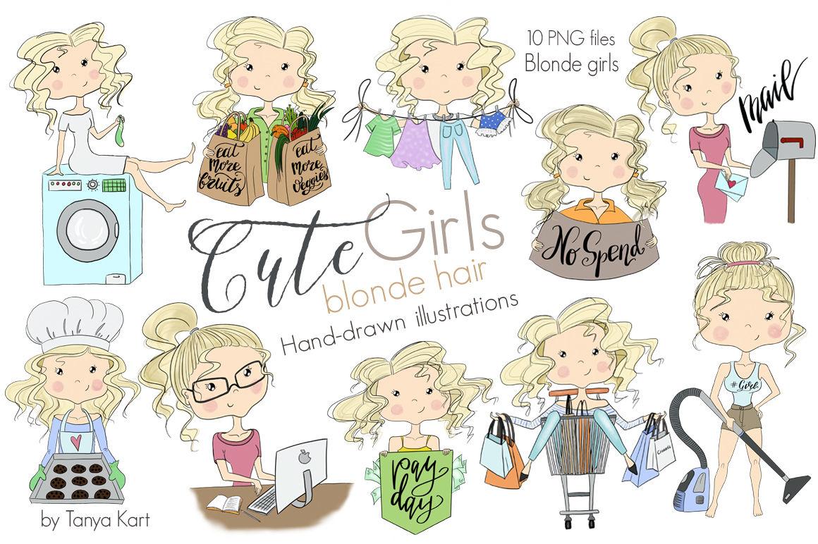 Cute Girls Blonde Hair Clipart By Tanya Kart Thehungryjpeg Com