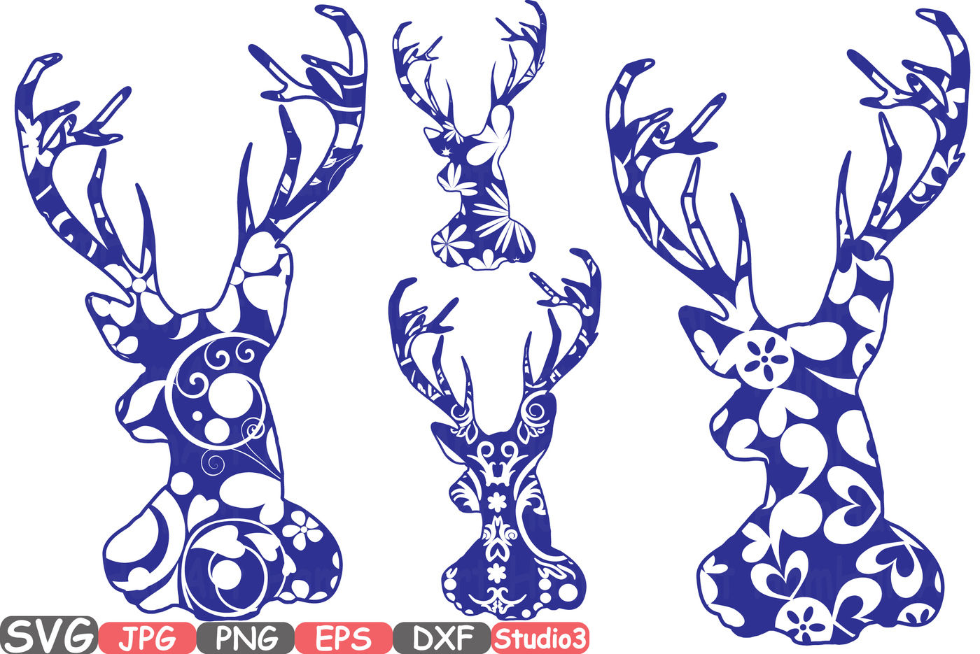 Deer Floral Mascot Woodland Flower Monogram Circle Cricut Design