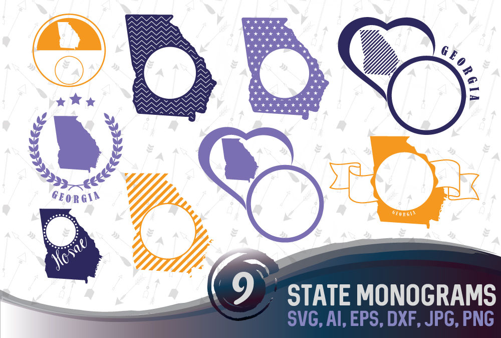 9 Georgia State Monograms - SVG, EPS, PNG, AI, DXF By Dreamer's
