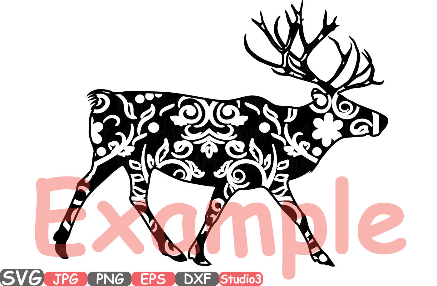 Christmas Reindeer Mascot Animal Flower Woodland Monogram Cutting