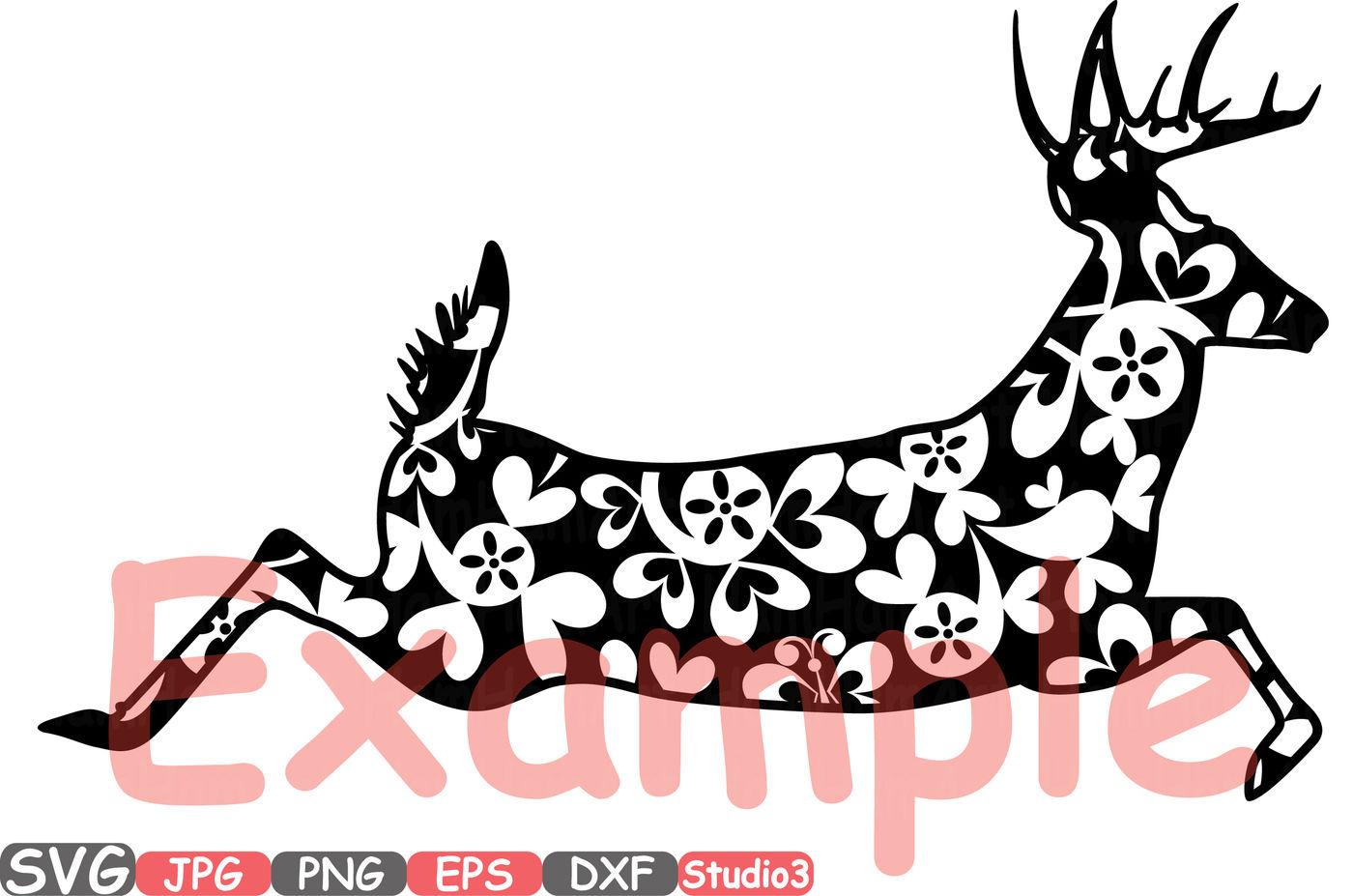 Christmas Reindeer Mascot Animal Flower Woodland Monogram Cutting
