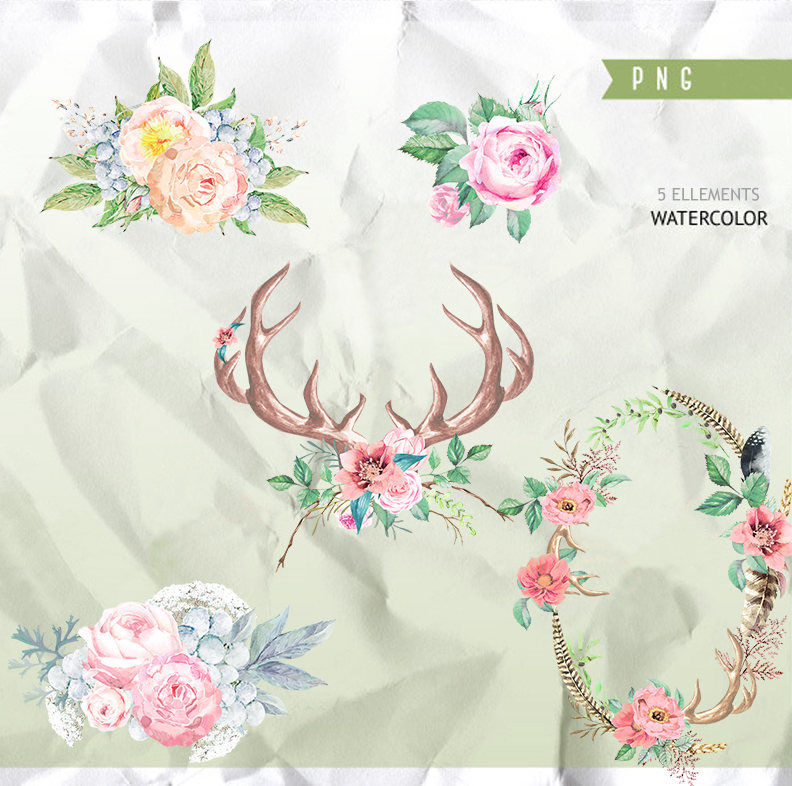 Horns Flowers Watercolor Clipart Floral Hand Drawing Antlers