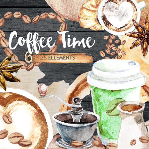 Coffee clipart, Cafe clipart, Food Watercolor clipart ...