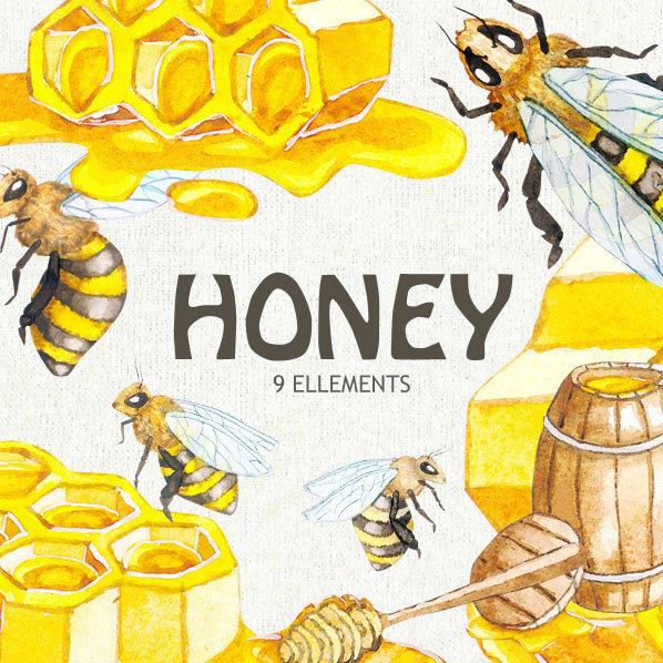 Watercolor Honey Bee Clipart, Honeycomb, Hand painted digital clip art instant download, DIY invites, Scrapbooking, Summer yellow colors