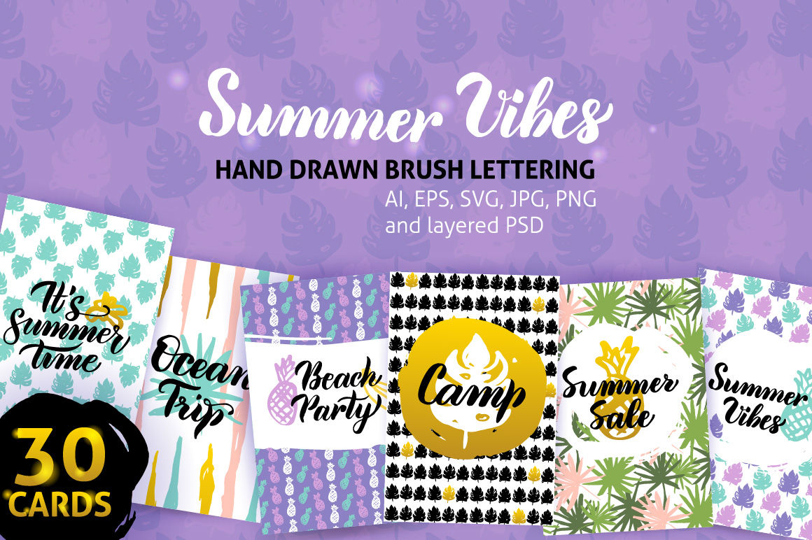 Summer Greeting Posters By Anna Leni Thehungryjpeg Com