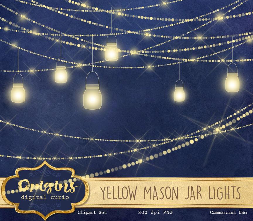 Yellow Mason Jar Lights By Digital Curio Thehungryjpeg Com
