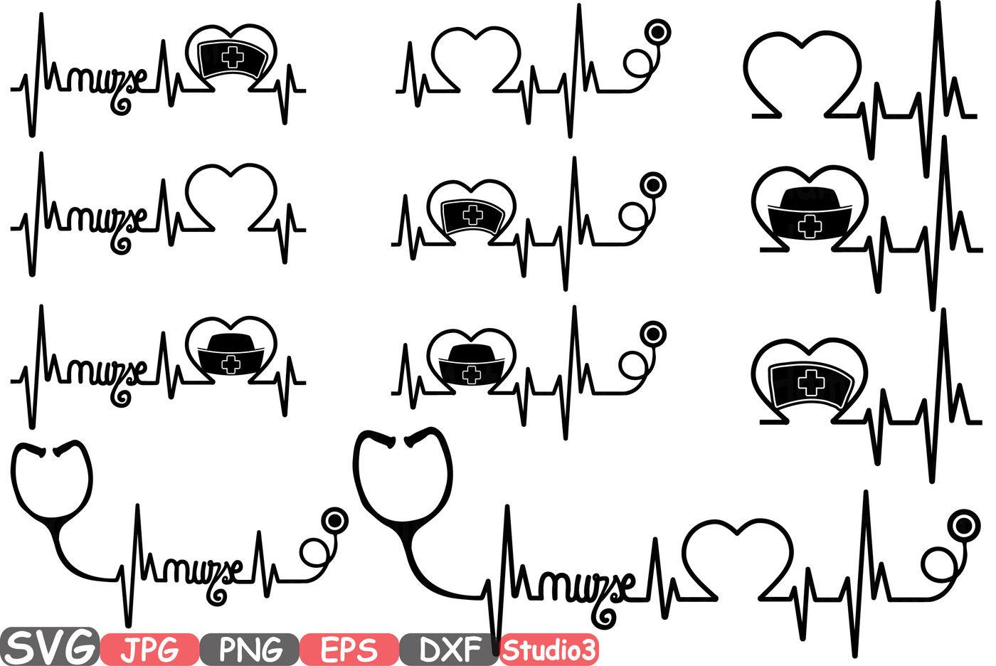 Nurses Frame Silhouette Svg Cutting Files Digital Clip Art Graphic Studio3 Cricut Cuttable Die Cut Machines Nursing Nurse Stethoscope 37sv By Hamhamart Thehungryjpeg Com