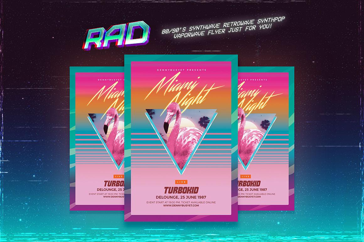 Miami Night 80's Synthwave Flyer By dennybusyet | TheHungryJPEG com